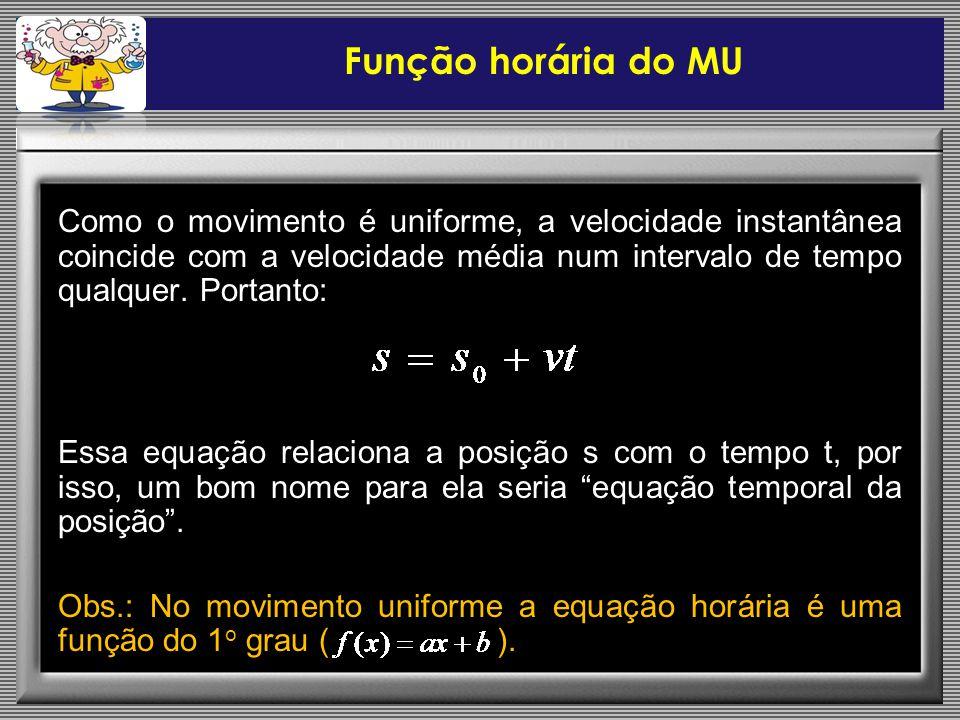 Função horária do MU Como o movimento é uniforme, a velocidade instantânea coincide com a velocidade média num intervalo de tempo qualquer. Portanto: