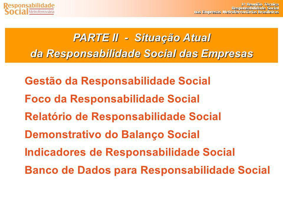 PARTE II - Situação Atual da Responsabilidade Social das Empresas