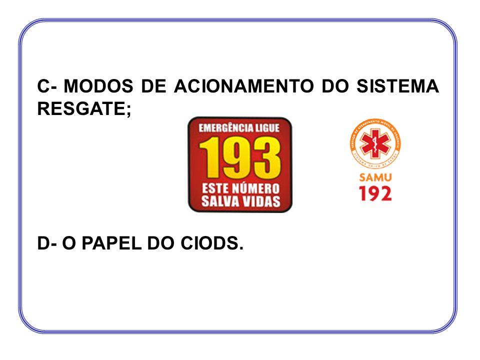 C- MODOS DE ACIONAMENTO DO SISTEMA RESGATE;