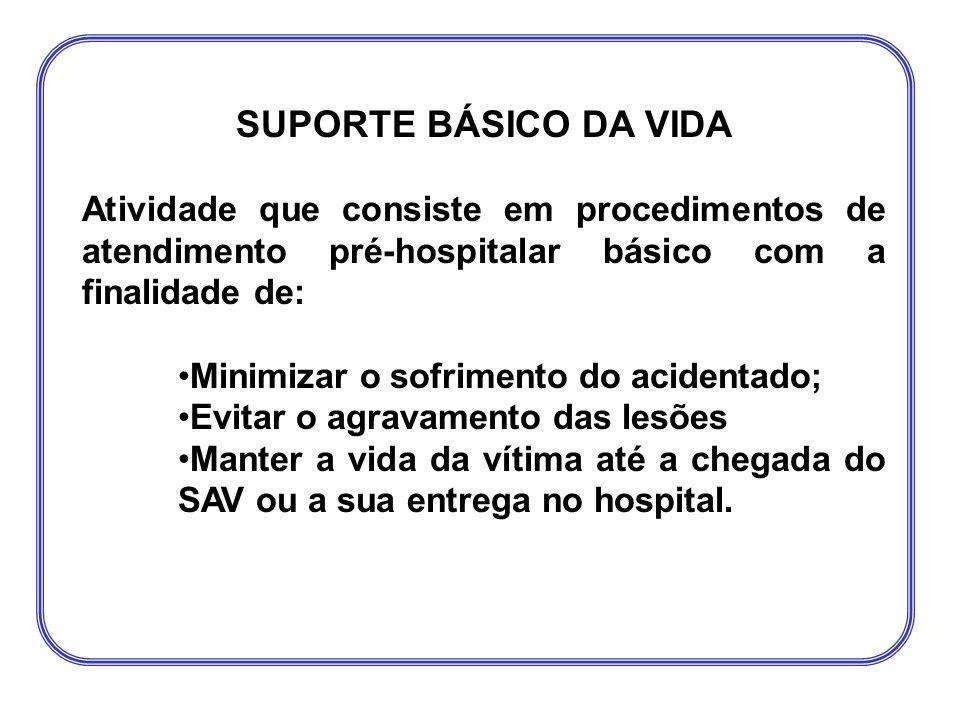 SUPORTE BÁSICO DA VIDA Atividade que consiste em procedimentos de atendimento pré-hospitalar básico com a finalidade de: