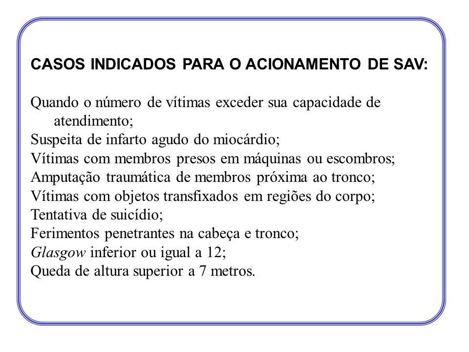 CASOS INDICADOS PARA O ACIONAMENTO DE SAV:
