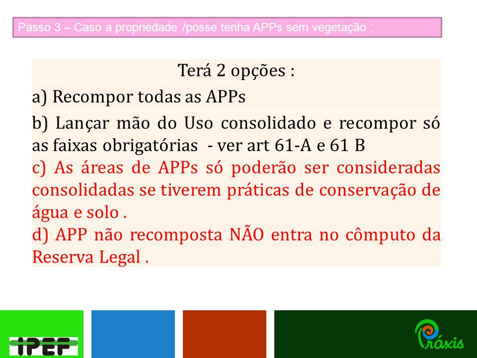 a) Recompor todas as APPs