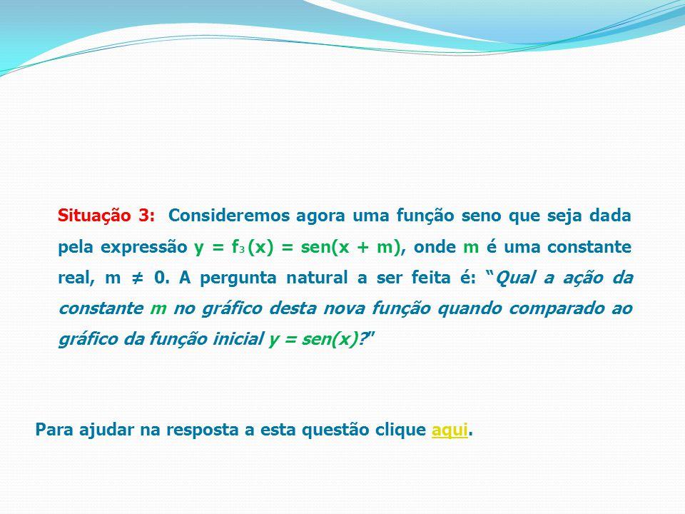 Situação 3: Consideremos agora uma função seno que seja dada pela expressão y = f3 (x) = sen(x + m), onde m é uma constante real, m ≠ 0. A pergunta natural a ser feita é: Qual a ação da constante m no gráfico desta nova função quando comparado ao gráfico da função inicial y = sen(x)