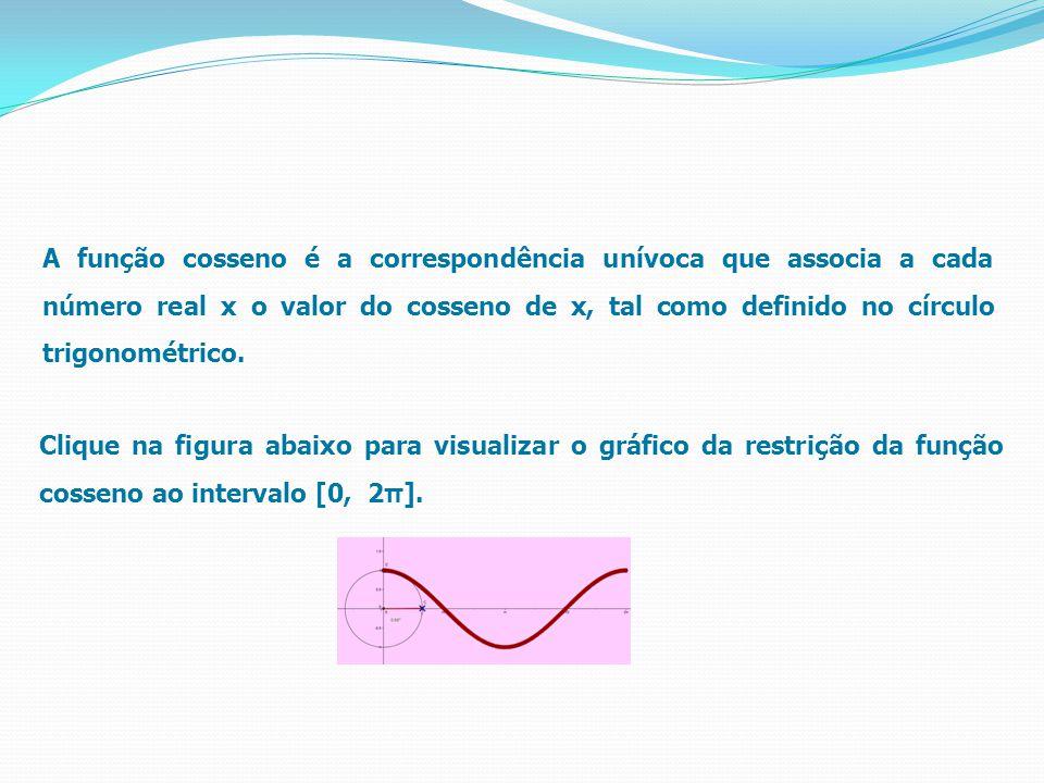 A função cosseno é a correspondência unívoca que associa a cada número real x o valor do cosseno de x, tal como definido no círculo trigonométrico.