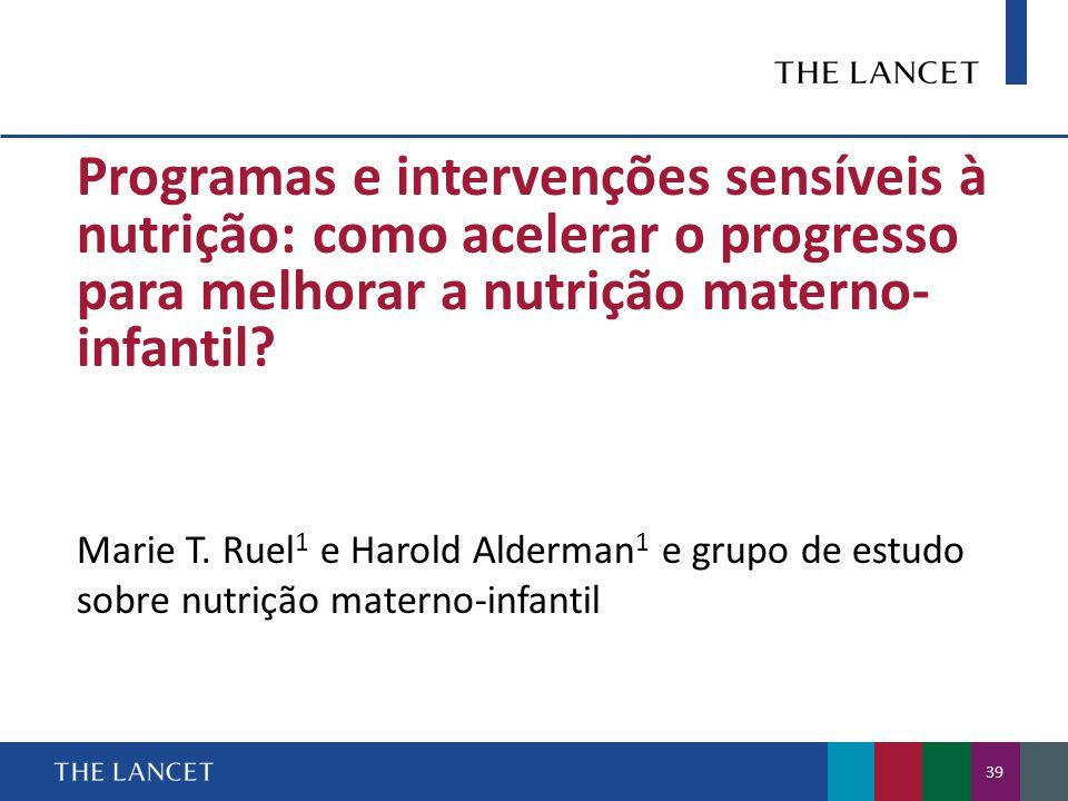 Programas e intervenções sensíveis à nutrição: como acelerar o progresso para melhorar a nutrição materno-infantil