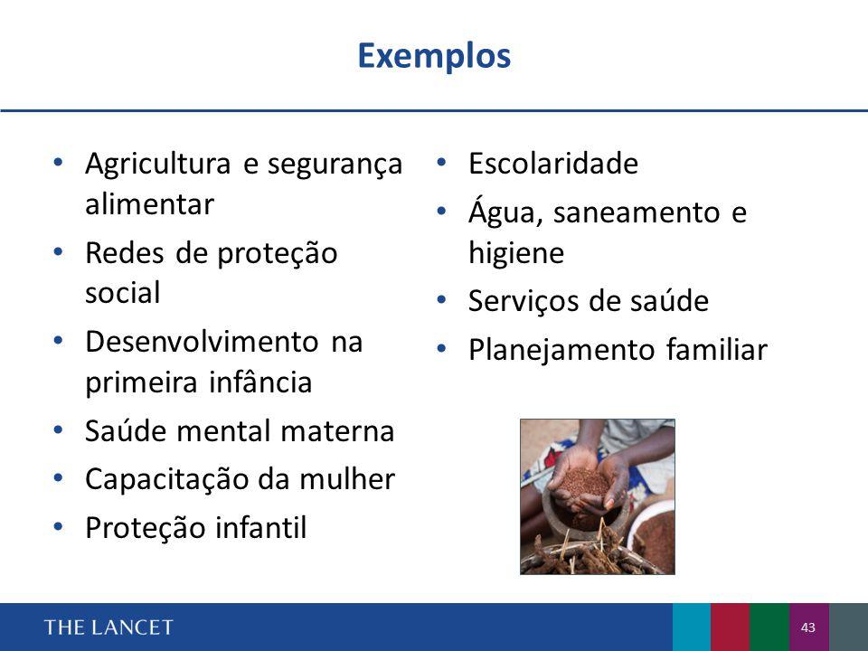 Exemplos Agricultura e segurança alimentar Redes de proteção social