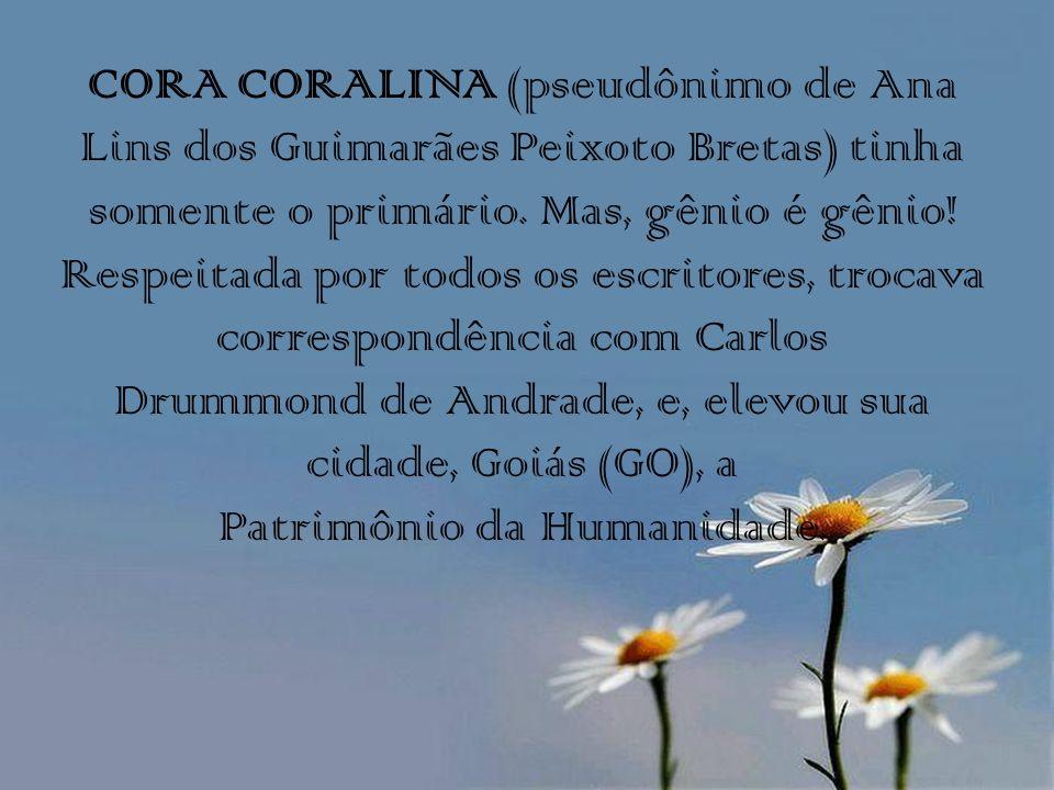 CORA CORALINA (pseudônimo de Ana Lins dos Guimarães Peixoto Bretas) tinha somente o primário.