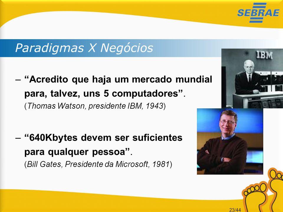 Paradigmas X Negócios Acredito que haja um mercado mundial para, talvez, uns 5 computadores . (Thomas Watson, presidente IBM, 1943)