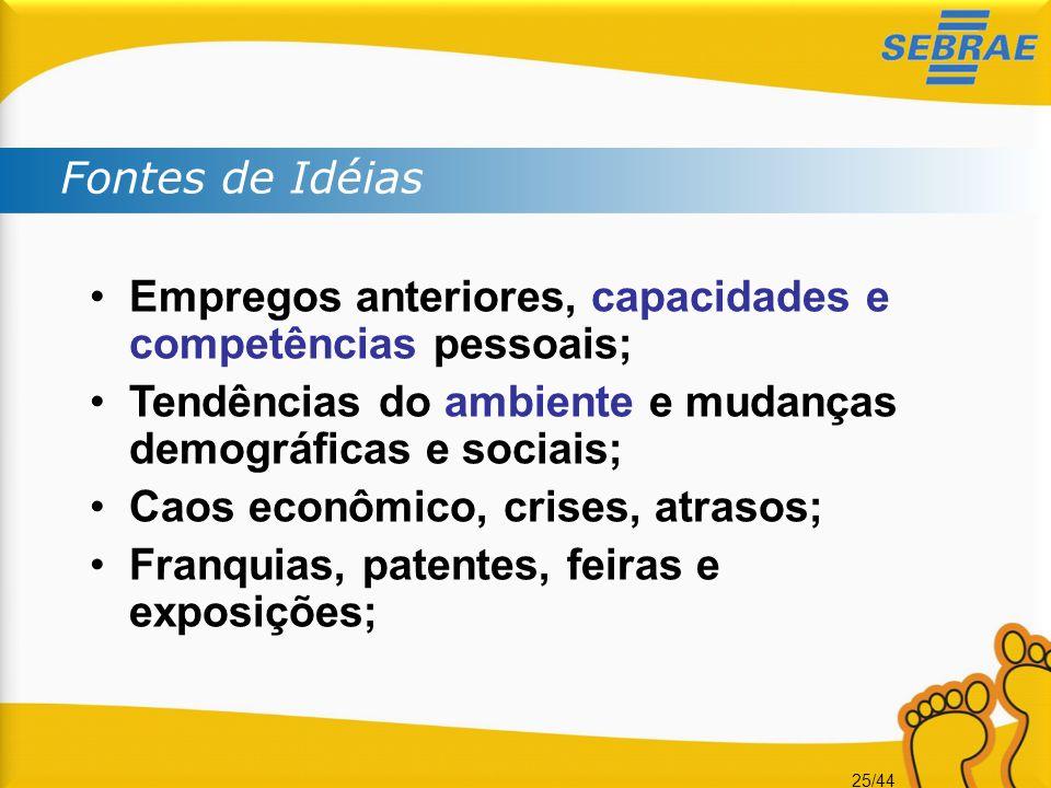 Fontes de Idéias Empregos anteriores, capacidades e competências pessoais; Tendências do ambiente e mudanças demográficas e sociais;