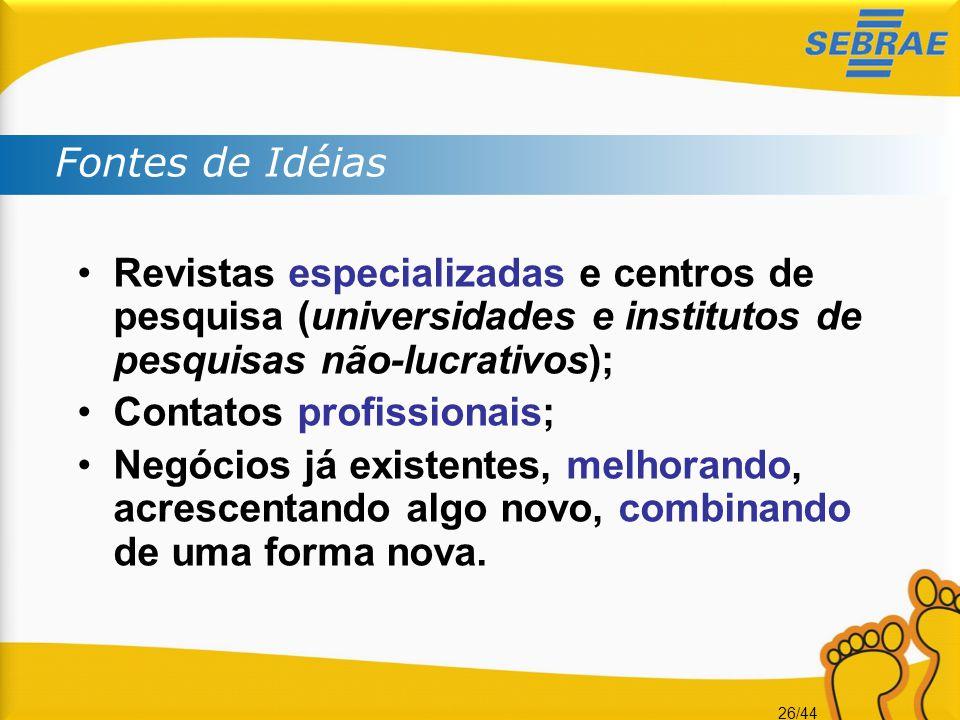 Fontes de Idéias Revistas especializadas e centros de pesquisa (universidades e institutos de pesquisas não-lucrativos);