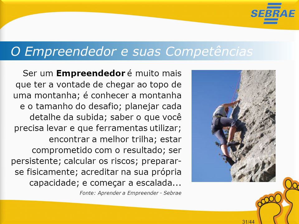 O Empreendedor e suas Competências