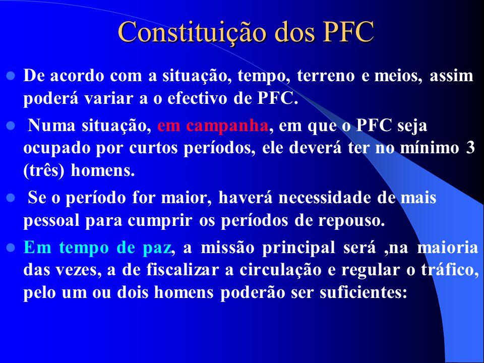 Constituição dos PFC De acordo com a situação, tempo, terreno e meios, assim poderá variar a o efectivo de PFC.