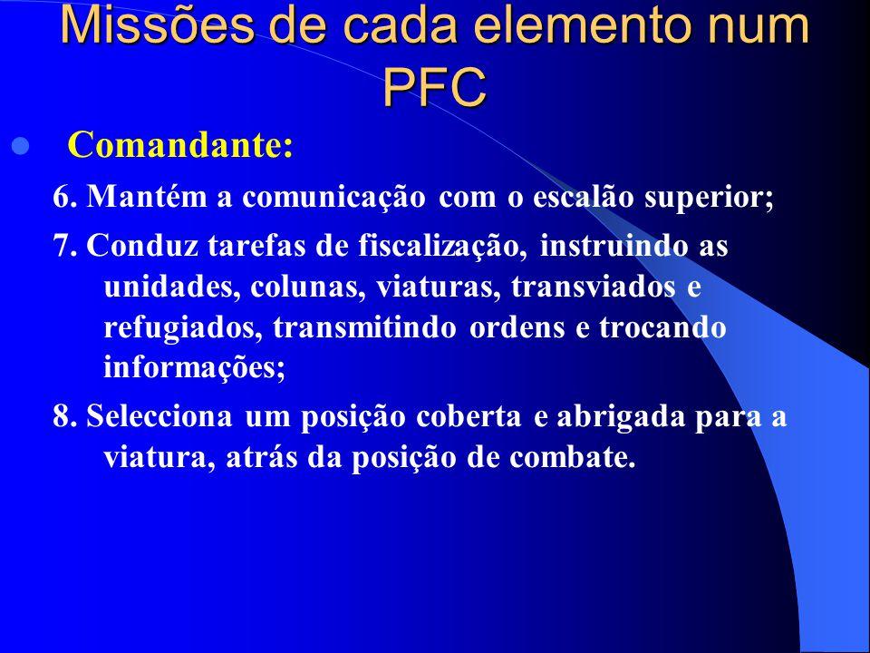 Missões de cada elemento num PFC