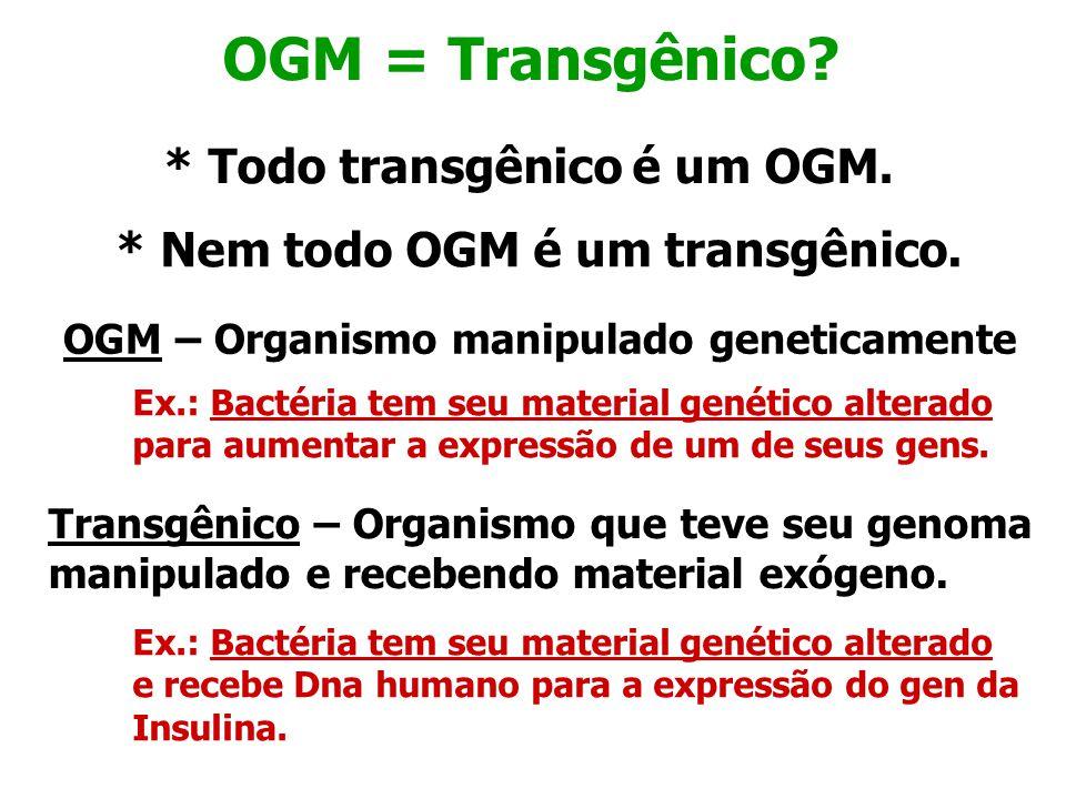 OGM = Transgênico * Todo transgênico é um OGM.