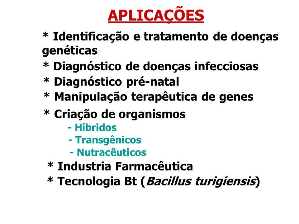 APLICAÇÕES * Identificação e tratamento de doenças genéticas