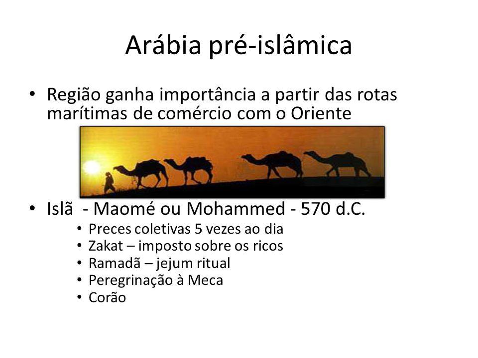 Arábia pré-islâmica Região ganha importância a partir das rotas marítimas de comércio com o Oriente.