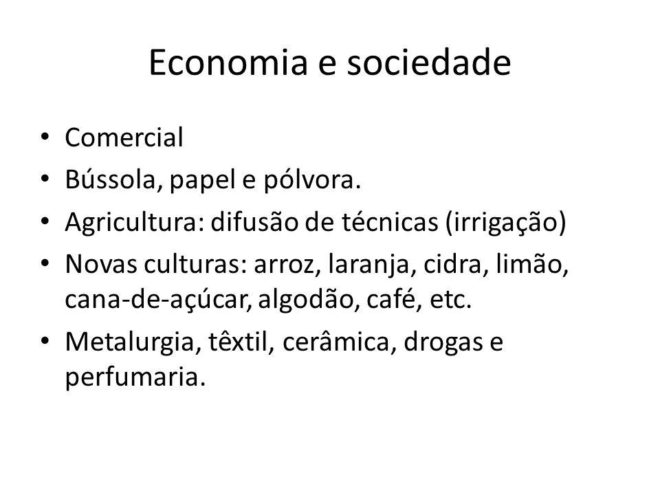 Economia e sociedade Comercial Bússola, papel e pólvora.