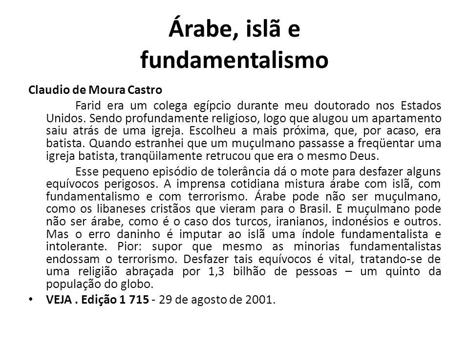 Árabe, islã e fundamentalismo