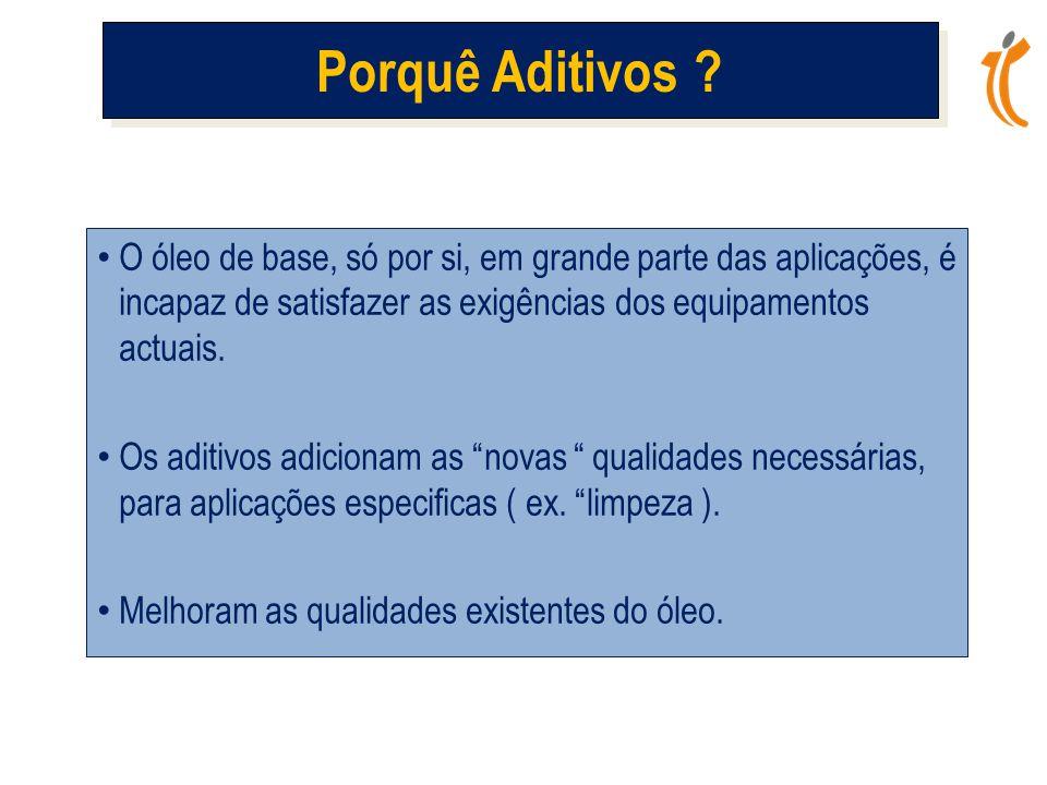 Porquê Aditivos O óleo de base, só por si, em grande parte das aplicações, é incapaz de satisfazer as exigências dos equipamentos actuais.