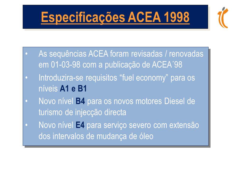 Especificações ACEA 1998 As sequências ACEA foram revisadas / renovadas em 01-03-98 com a publicação de ACEA´98.