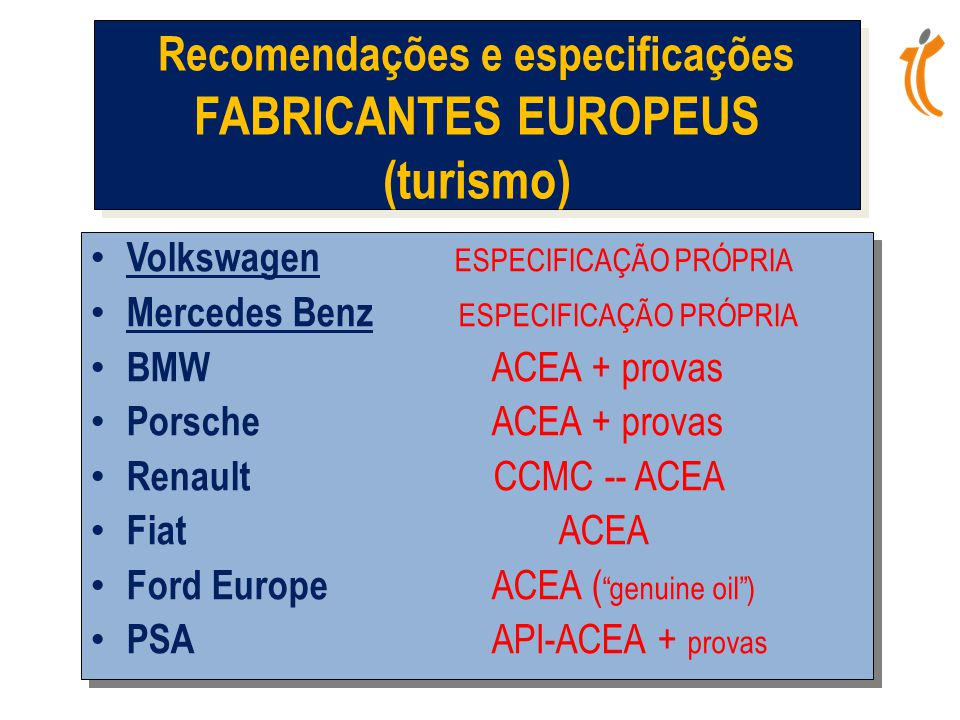 Recomendações e especificações FABRICANTES EUROPEUS (turismo)