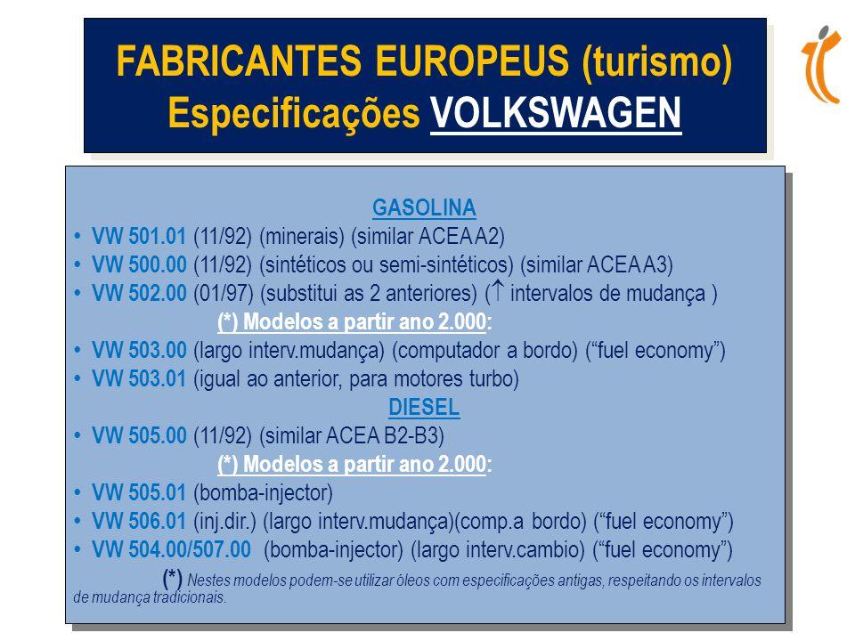 FABRICANTES EUROPEUS (turismo) Especificações VOLKSWAGEN