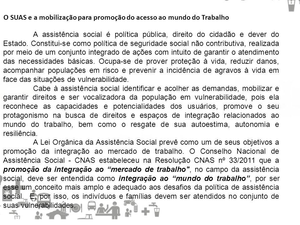 O SUAS e a mobilização para promoção do acesso ao mundo do Trabalho