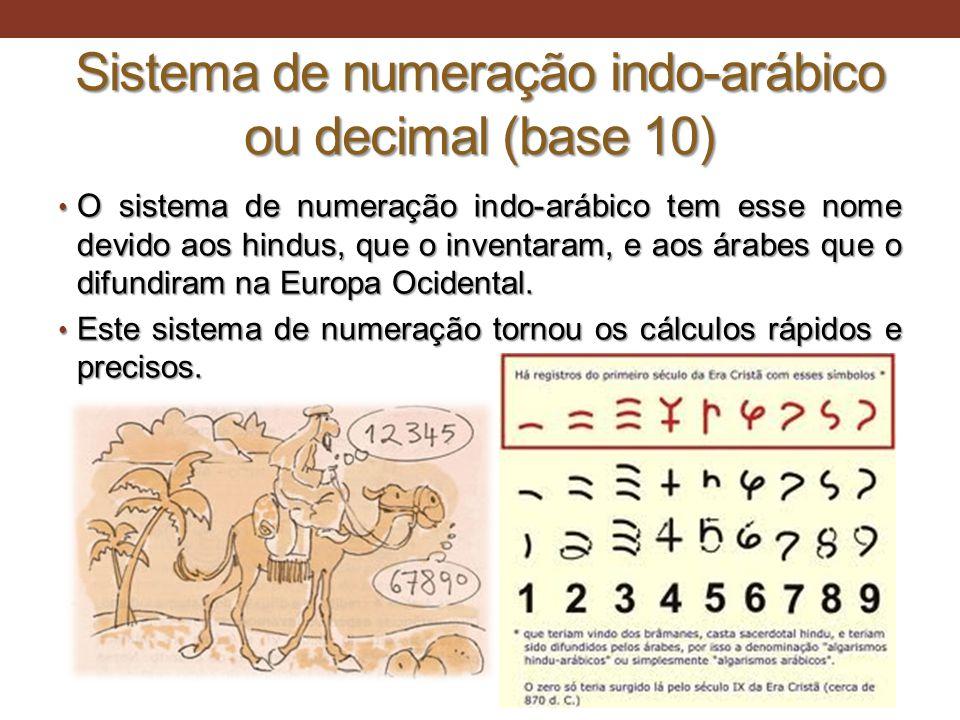Sistema de numeração indo-arábico ou decimal (base 10)
