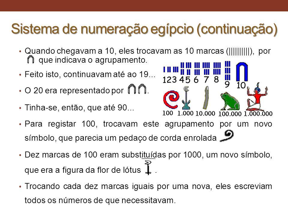 Sistema de numeração egípcio (continuação)