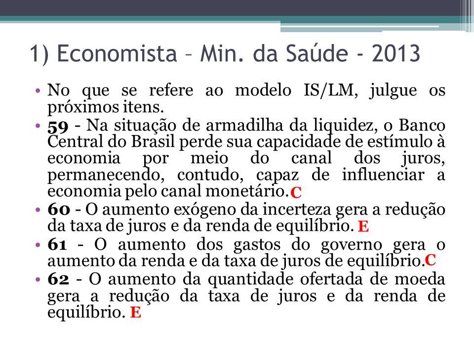 1) Economista – Min. da Saúde - 2013