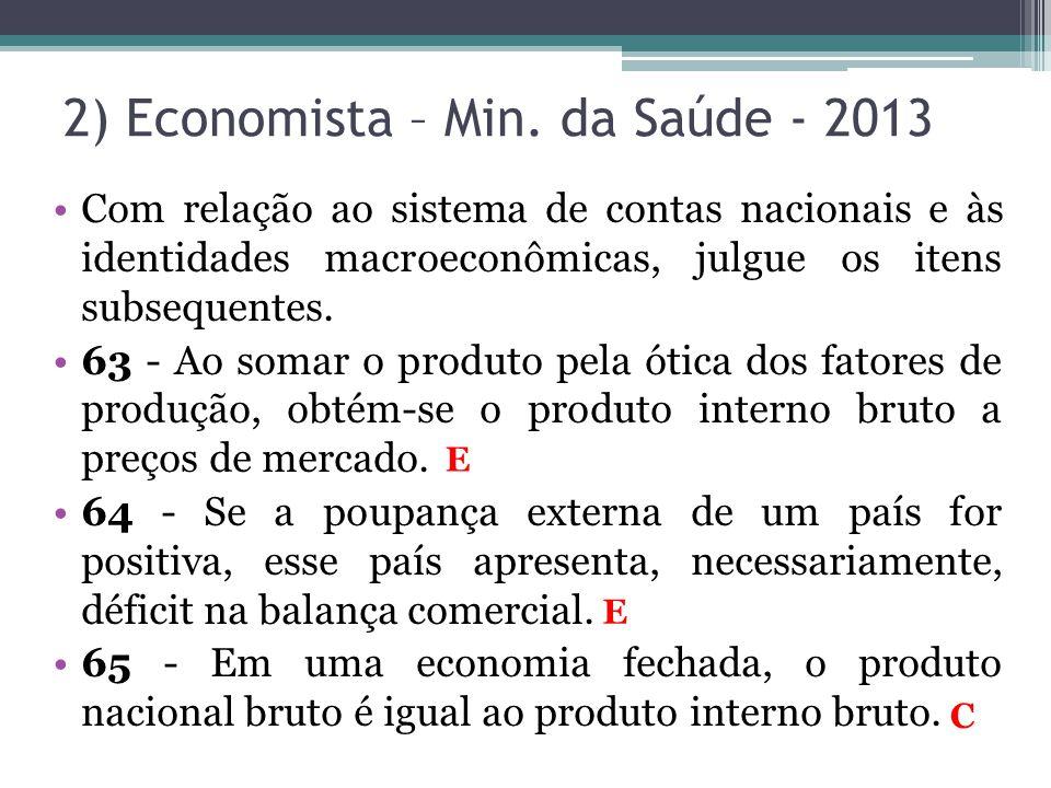 2) Economista – Min. da Saúde - 2013