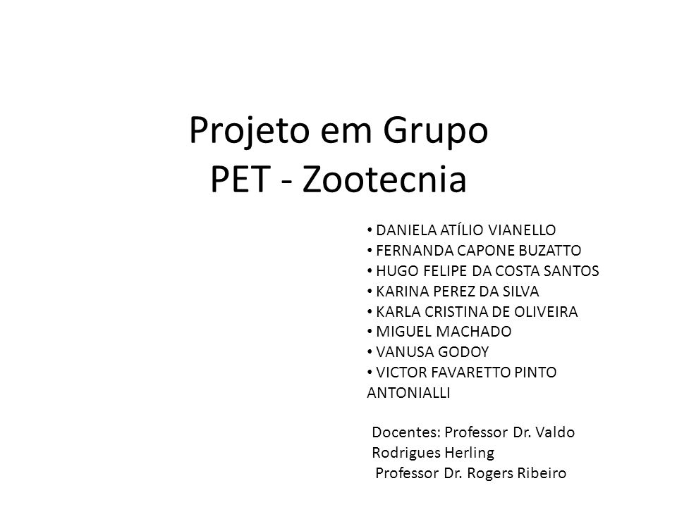 Projeto em Grupo PET - Zootecnia
