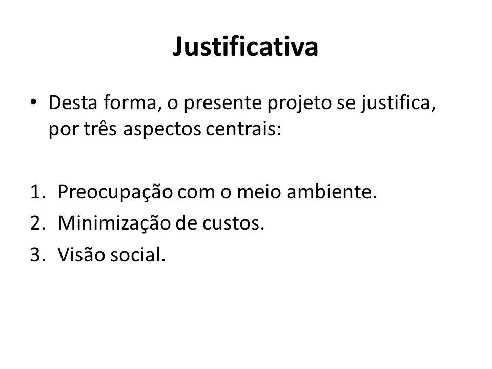 Justificativa Desta forma, o presente projeto se justifica, por três aspectos centrais: Preocupação com o meio ambiente.