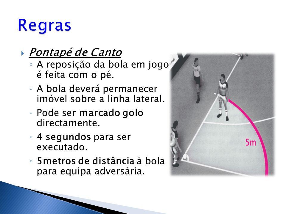 Regras Pontapé de Canto A reposição da bola em jogo é feita com o pé.