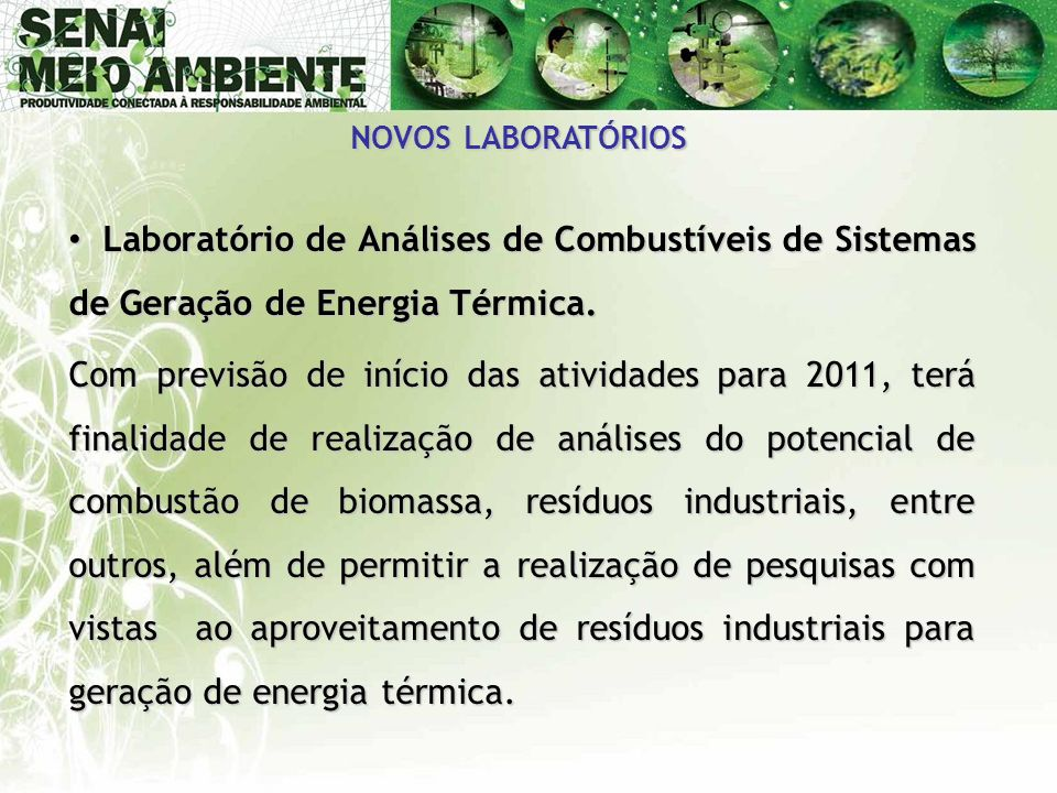 NOVOS LABORATÓRIOS Laboratório de Análises de Combustíveis de Sistemas de Geração de Energia Térmica.