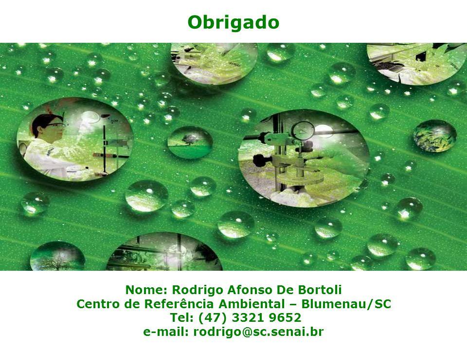 Obrigado Nome: Rodrigo Afonso De Bortoli Centro de Referência Ambiental – Blumenau/SC Tel: (47) 3321 9652 e-mail: rodrigo@sc.senai.br.