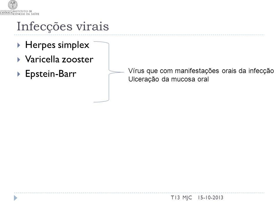 Infecções virais Herpes simplex Varicella zooster Epstein-Barr