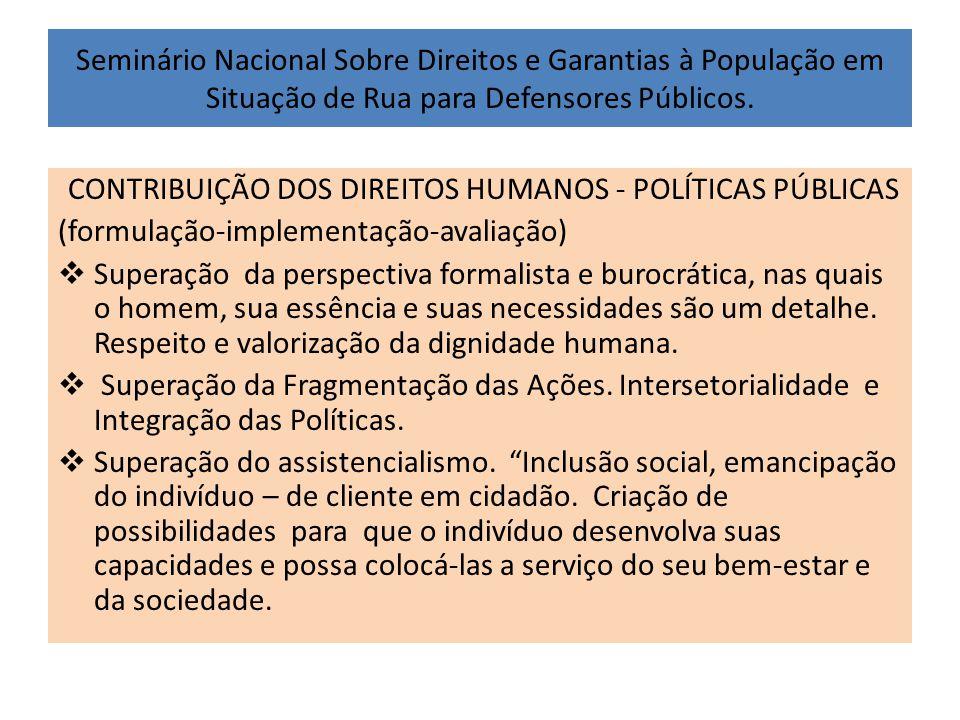 CONTRIBUIÇÃO DOS DIREITOS HUMANOS - POLÍTICAS PÚBLICAS