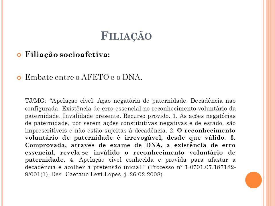 Filiação Filiação socioafetiva: Embate entre o AFETO e o DNA.