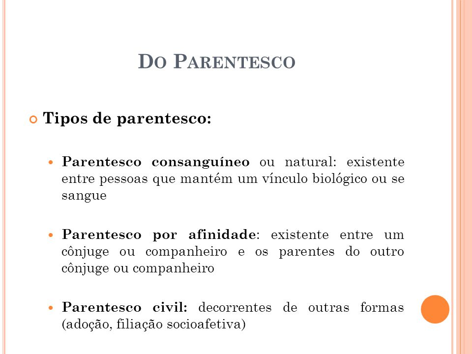 Do Parentesco Tipos de parentesco: