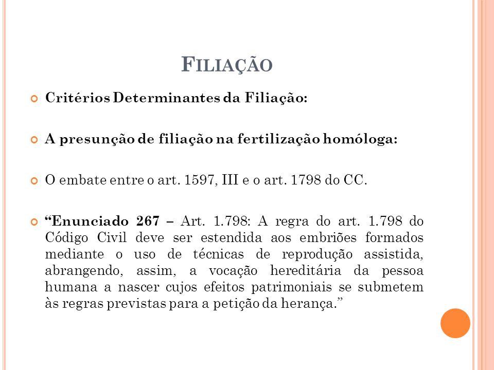 Filiação Critérios Determinantes da Filiação: