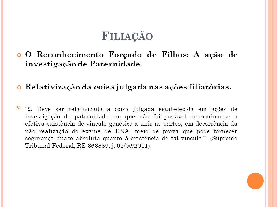 Filiação O Reconhecimento Forçado de Filhos: A ação de investigação de Paternidade. Relativização da coisa julgada nas ações filiatórias.