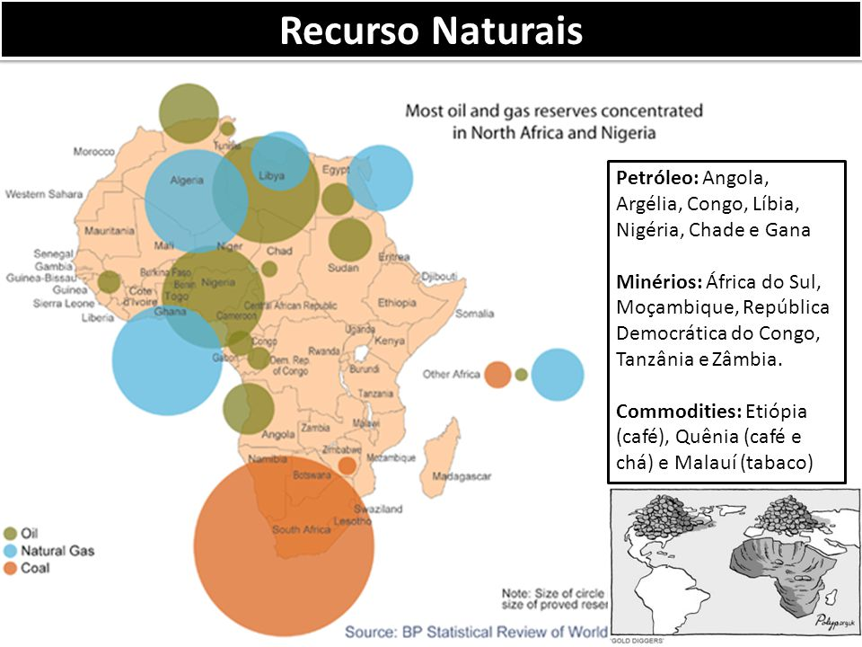 Recurso Naturais Petróleo: Angola, Argélia, Congo, Líbia, Nigéria, Chade e Gana.