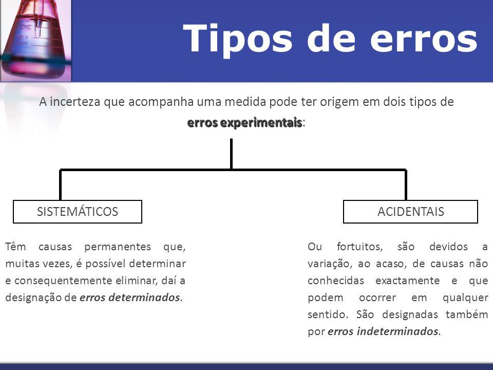 Tipos de erros A incerteza que acompanha uma medida pode ter origem em dois tipos de erros experimentais: