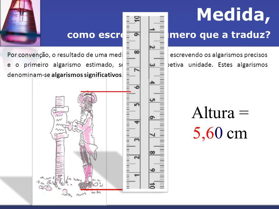 Medida, Altura = 5,60 cm como escrever o número que a traduz