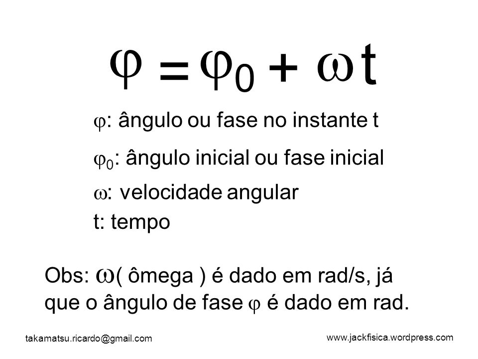  0  t + = : ângulo ou fase no instante t