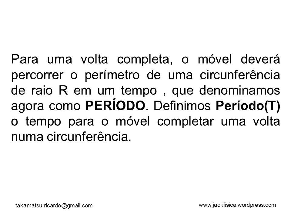 Para uma volta completa, o móvel deverá percorrer o perímetro de uma circunferência de raio R em um tempo , que denominamos agora como PERÍODO.