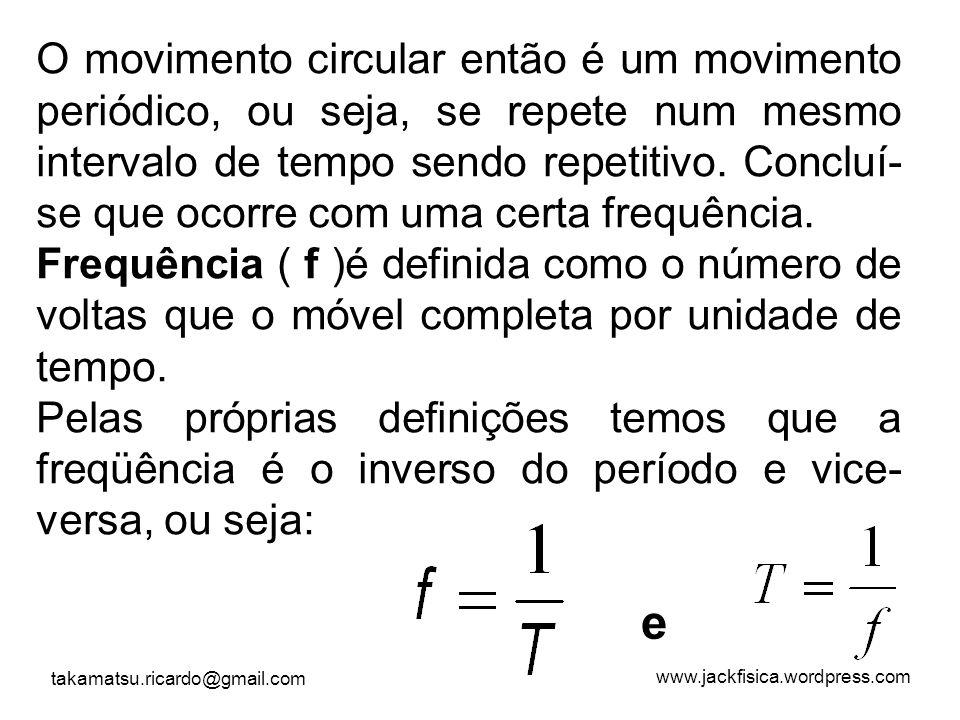 O movimento circular então é um movimento periódico, ou seja, se repete num mesmo intervalo de tempo sendo repetitivo. Concluí-se que ocorre com uma certa frequência.