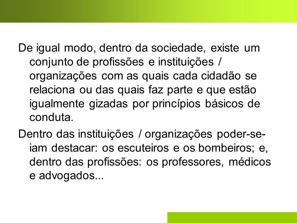 De igual modo, dentro da sociedade, existe um conjunto de profissões e instituições / organizações com as quais cada cidadão se relaciona ou das quais faz parte e que estão igualmente gizadas por princípios básicos de conduta.