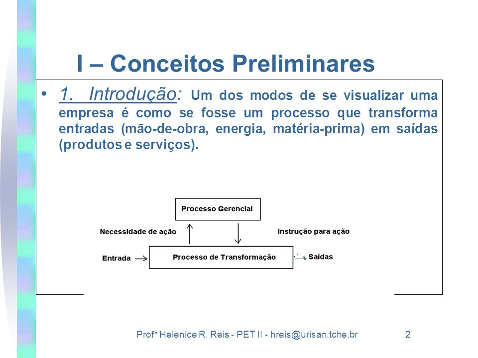 I – Conceitos Preliminares